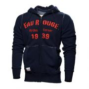"SWEATER WITH HOOD ""EAU ROUGE"" ON CHEST /  ZIP +  COLOR BLUE 1"
